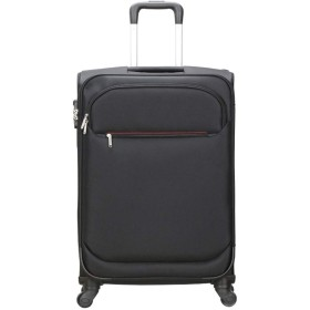 ZHAOSHUHLI スーツケーストロリーユニバーサルホイール荷物ロックロックスーツケース男性と女性ライトソフトボックス付き4ホイールフロントポケット旅行トロリーケース (Color : Black, Size : 24 inchs)