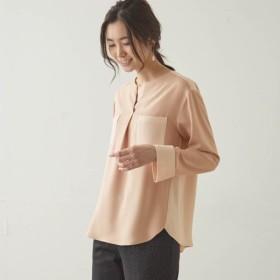 シャツ ブラウス レディース ベルメゾン 配色使いとろみ9分袖ブラウス 「ピンクベージュ系」