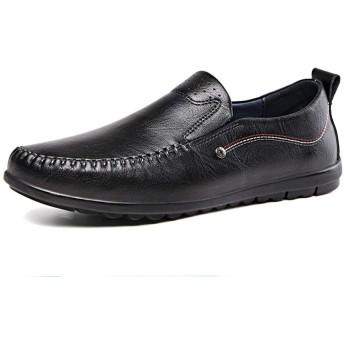 [Jusheng-shoes] メンズシューズ ファシアンクラシックドライビングローファーメンズステッチボートシューズフォーマルビジネスオックスフォードスリップオン合成皮革ラウンドトゥフラットヒール耐摩耗性 カジュアルシューズ (Color : ブラック, サイズ : 23.5 CM)