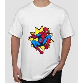 フライTシャツスーパーヒーロープリントメンズスパイダーマンプリントTシャツサマーブラック半袖