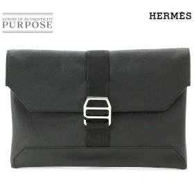 未使用 展示品 エルメス HERMES シティ スライド クラッチ バッグ エプソン ブラック X 刻印
