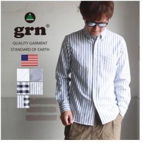 grn ストレッチ オックス 長袖ボタンダウンシャツ メンズ アメカジ