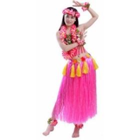 フラダンス 衣装 コスチューム レイ ベアトップ スカート 8点 セット(ピンク)