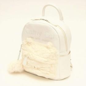 リュックサック 猫バッグ ネコリュック ミニリュック ネコモチーフ Dパック デイパック フェイクファー エコファー (ホワイト)