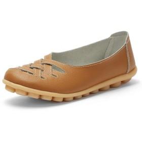[Bopoli] レディーズ Flats モカシン Comfortable 女 ローファー Cut-Outs Leisure Flat ブーツ Female レザー カジュアルl ブーツ for Spring/Autumn