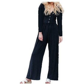VITryst Women's Rompers V Neck Wide Leg Long-Sleeve Casual Jumpsuit Black M