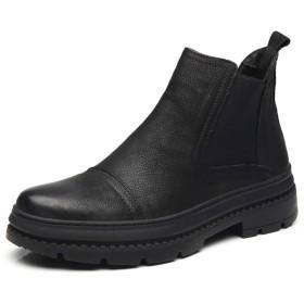 本革 サイドゴアブーツ メンズ おしゃれ 防滑 ビジネスシューズ 紳士靴 ブーツ ハイカット ストレートチップ 履きやすい ボア 歩きやすい 疲れにくい 25.0cm 痛くない 通勤 通学 雨 雪 大きいサイズ 黒 ブラック