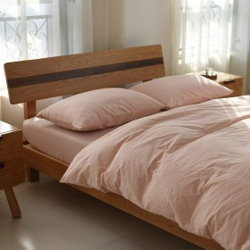単色ダブル寝具4ピース、100%スーパーソフトコットン1掛け布団カバー1シート2枕-Lightpink-Double