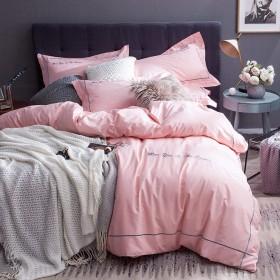 単色ダブル寝具コットン4セット、シンプルな刺繍1掛け布団カバー1シート2枕ホーム装飾用-lightpink-Queen