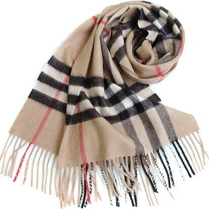BURBERRY 經典格 紋100% 喀什米爾羊毛圍巾