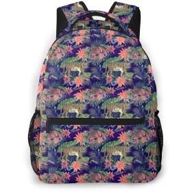 バックパック 虎と花柄 Pcリュック ビジネスリュック バッグ 防水バックパック 多機能 通学 出張 旅行用デイパック