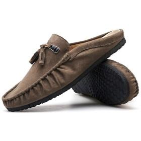 [ZJHZ] スリッポン メンズ 白 レザー おしゃれ 衝撃吸収 ショック軽減 柔らかい 滑り止め 24.5cm 快適 ローファー メンズ モカシン ドライビングシューズ 普段用 紳士靴 歩きやすい 耐摩耗性 屈曲性 高級 スエード 柔らかい カーキ サンダル
