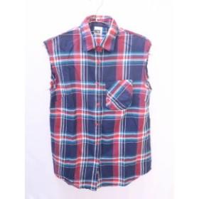RODEO CROWNS(ロデオクラウンズ)チェックシャツチュニック ノースリーブ 紺/赤 レディース Aランク 2