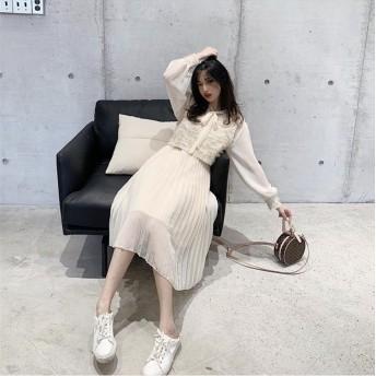 SALE!売り切れ次第終了 韓国ファッション 新品 気質 大人気 おしゃれな レトロ シフォン エレガント 中・長セクション 高品質 ベスト ワンビース 2点セット