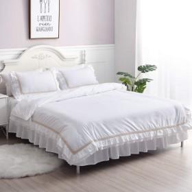 綿100% ホワイト掛け布団カバーフリルレース セミダブル 枕カバー2枚 防ダニ 寝具カバー