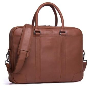 メンズバッグ ショルダーバッグ メンズ ビジネス ブリーフケース レザーショルダーバッグ カジュアル ハンドバッグ レザーバッグ (Color : Brown, Size : L)