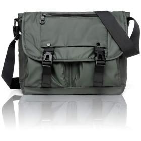 超軽量 防水 リュック バッグ ポケット10個付き メンズ ショルダーバッグ 盗難防止 ショルダーバッグ 頑丈 大容量メッセンジャーバッグ 通勤バッグ (緑)