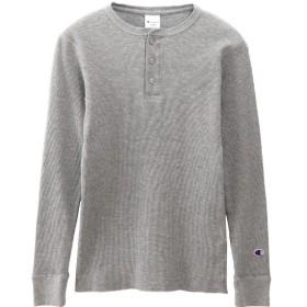 メンズ ヘンリーネックロングスリーブTシャツ(Mサイズ/オックスフォードグレー) C3-Q406