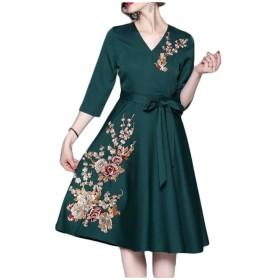 絶妙な刺繍ドレスと女性の気質Vネックレースのドレス SLhouse (Color : Green, Size : XL)