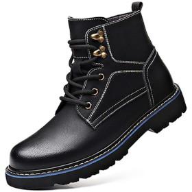 [スタジオ] メンズ 革靴 マウンテンブーツ ショートブーツ 男性用 厚底 歩きやすい 疲れない カジュアル 防水 黒 滑り止め 男女兼用 ハイカット レースアップ 編み上げブーツ レザー 25.5cm アウトドア ビジネス 安全靴 登山 ワークブーツ