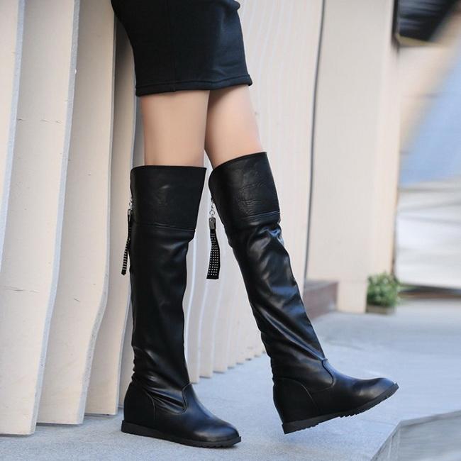 FOFU-長靴帥氣皮面兩穿可折口膝上長靴【02S11560】