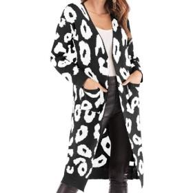 cheelot Women Fall Winter Leopard Print Knitted Jacket Mid-long Cardigan Coat Black L