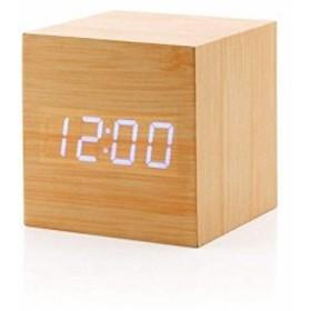 目覚まし時計 木時計 デジタル 木製 木目調 LED AeeYui 多機能 音声感知 温度計 666cm