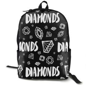 シューズ バッグ バッグ スーツケース メンズバッグ ダイヤモンド 英字 リュックバックパック タウンリュック ビジネスリュック学生 通学 通勤 男女兼用 スクールバックパック ブラック