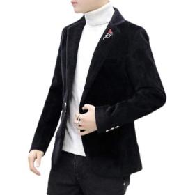 EnergyWD メンズ ベロア プレミアム スリム ワン ボタン ビジネス ブレザー スーツ コート トップス Black S