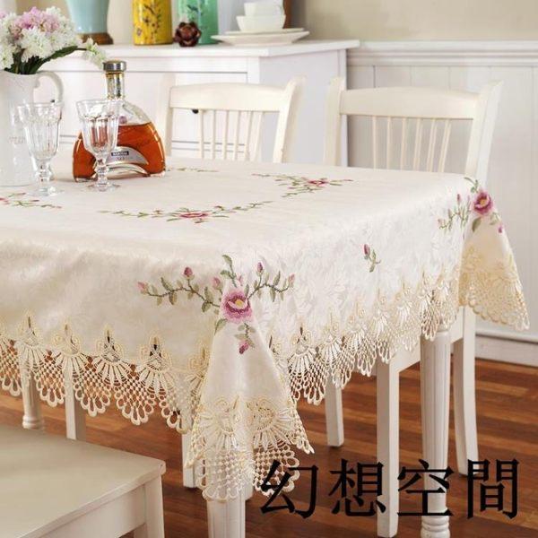 十字繡花蕾絲 餐桌布 布藝 茶幾巾 田園桌布 桌墊 多用蓋巾