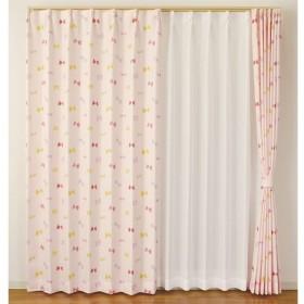 カーテン リボン 約100×135cm 2枚組 ピンク カーテン 厚地カーテン遮光  かわいい おしゃれ 子供部屋 生地 既製品 無地 可愛い 出窓