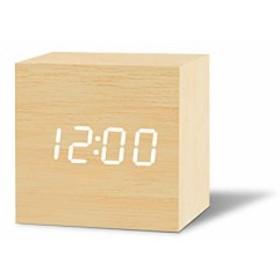 目覚まし時計 置き時計 LED時計 アラームクロック Fomobest 明るさ4段階調節 音声感知 (ベージュ)
