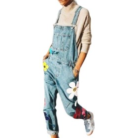 chenshiba-JP Womens Printing Denim Stylish Overalls Pant Jeans Jumpsuits with Pockets 1 L