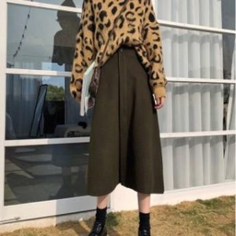 おすすめ 春物 スカート Aライン シンプル カジュアル フェミニン ガーリー スリット ハイウエスト hf1618