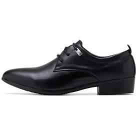 [Minmaoxiezil] 2019秋の新しいメンズシューズビジネスカジュアル野生の色の革の靴のオフィスワーカーのメンズレザーシューズドレスシューズ(ブラック)26.0cm
