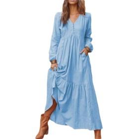 Qiangjinjiu Women Long Sleeve Button V Neck Linen Maxi Dress Light Blue XL