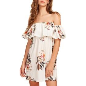 しあわせ宜蘭 ワンピースドレス レディース夏ゆったり上品女性のファッションオフショルダーストラップレス半袖プリントルーズミニドレス
