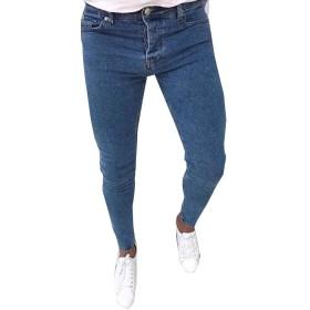 Fly Year-JP メンズファッションハイウエストジーンズスリムフィットスキニーストレッチジーンズパンツ Blue M