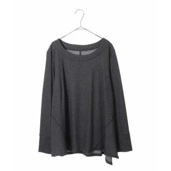 HIROKO BIS GRANDE ヒロコビス グランデ ラウンドネックデザイントップ Tシャツ・カットソー,ダークグレー