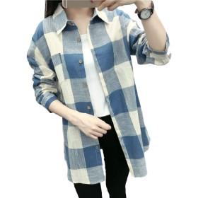 [コぺフラップ] レディース トップス ぶらうす チェック ネルシャツ シャツ ブロック 格子柄 長袖 ブラウス 襟 ロング丈 (ブルー,M) 格子柄シャツ チェック柄 シフォン おおきい サイズ ワンピース 秋冬 トップスシャツ アウター ストライプ きれいめ ながそでtシャツ ゆったり ジャンパー はおるものレディース 羽織るもの 上着 ポンチョ アウトドア チュニック