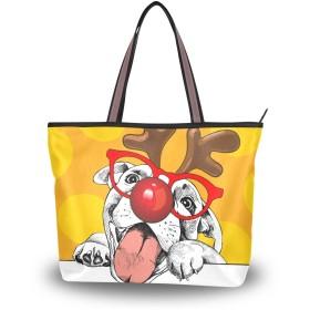 MASAI トートバッグ 犬柄 クリスマス 大容量 レディース 軽量おしゃれa4肩掛け 2way ファスナー付き布通勤通学