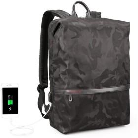 迷彩バックパック、ポート防水スクールバックパック女性の男性の大容量旅行バックパック15.6インチUSB充電とのビジネスノートパソコンのバックパック (Color : Black)