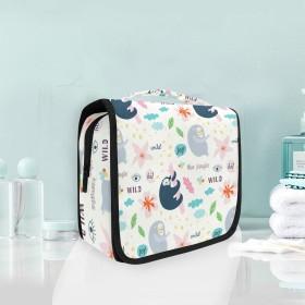 ジョイワイルドナマケモノピンクぶら下げ折りたたみトイレタリー化粧品化粧バッグ旅行キットオーガナイザー収納ウォッシュバッグケース用女性女の子浴室