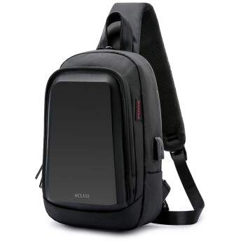ACLUO ボディバッグ メンズ 斜め掛け 大容量 防水 ワンショルダー 肩掛けバッグ 軽量 ipad 収納可能 (黒)