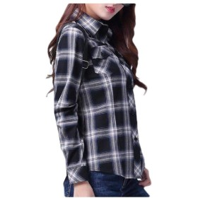 EnergyWD Women's 100% Cotton Plus Size Plaid Pocket Blouses and Tops Shirts 3 3XL