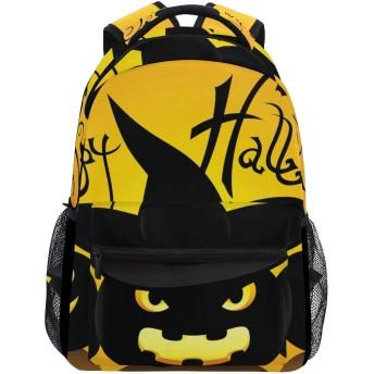 バックパック旅行ハロウィンかぼちゃ学校の本袋ショルダーラップトップデイパックカレッジバッグ用レディースメンズボーイズガールズ