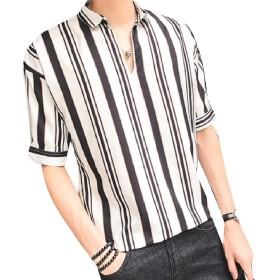 VITryst メンズストライプVネック半袖プルオーバーブラウスとトップスシャツ White M