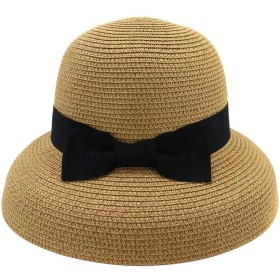 ZiWen Lu 春夏帽子エレガントな女性中空折りたたみ漁師帽子トラベルキャップギフトちょう結び (色 : コーヒー, サイズ : 56-58CM)