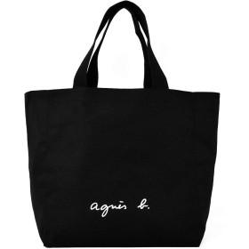 agnes b. アニエスベー トートバッグ キャンバス コットン 大容量 メンズ レディース 軽量 通学 通学 サイズL (ブラック)