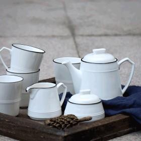 Ywyun ヨーロッパのコーヒーカップティーポットセット、国内シンプルなセラミック英語アフタヌーンティーセット7点セット、ホワイトセラミック